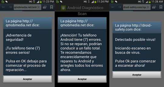 Advertencia de Seguridad - Tu teléfono Android tiene (7) errores serios - Comenzar proceso de reparación - Escanear virus - Fallo total - qmobmedia.net/antivirus