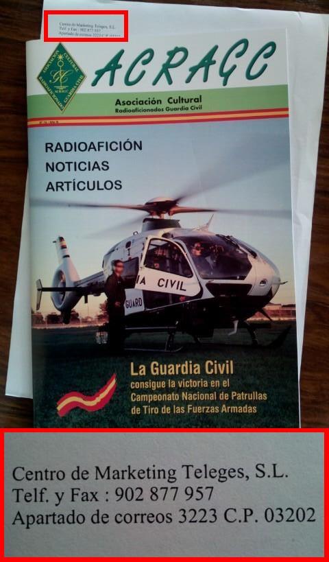 ACRAGC, Asociación Cultural Radioaficionados Guardia Civil Radioafición Noticias Artículos | Centro de Marketing Teleges, S.L. Telf. y Fax: 902 877 957 Apartado de correos 3223 CP 03202 Elche (Alicante)
