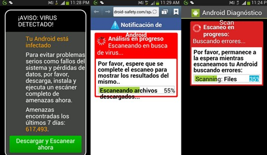 AVISO VIRUS DETECTADO Tu Android está infectado - fallos del sistema - pérdidas de datos - instala y ejecuta un escáner --- Notificación de Android, análisis en progeso --- Android buscando errores