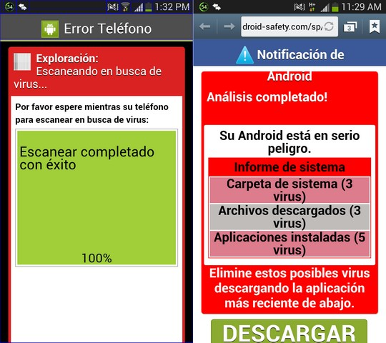 Por favor espere mientras su teléfono para escanear en busca de virus. Escanear completado con éxito -- Su Android está en serio peligro - android-safety.com/sp